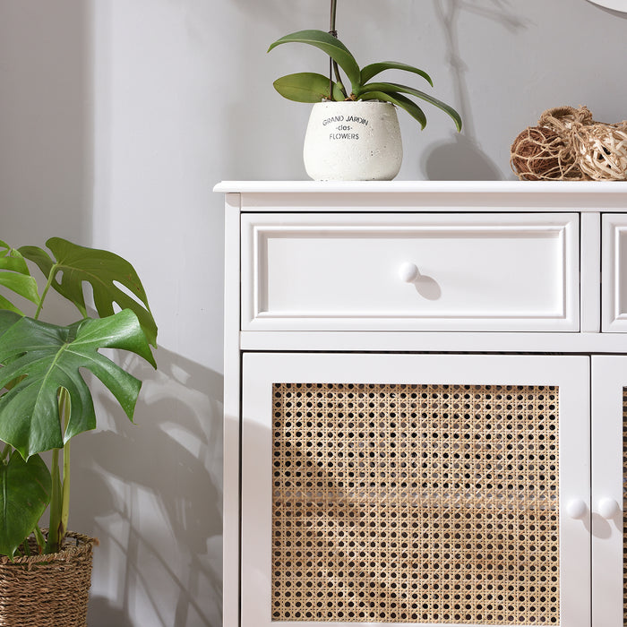 Homerton Solid Wood and Rattan 2 Door 2 Drawer Sideboard 8