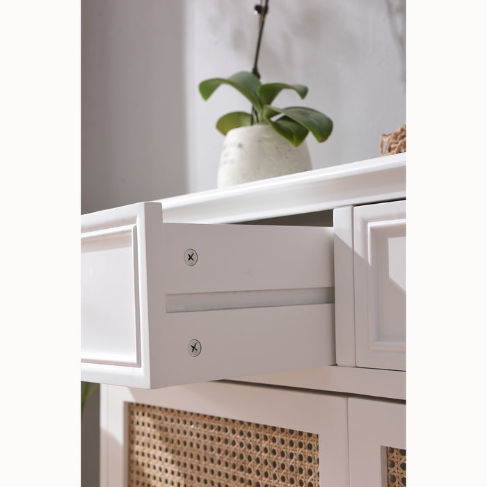 Homerton Solid Wood and Rattan 2 Door 2 Drawer Sideboard 9