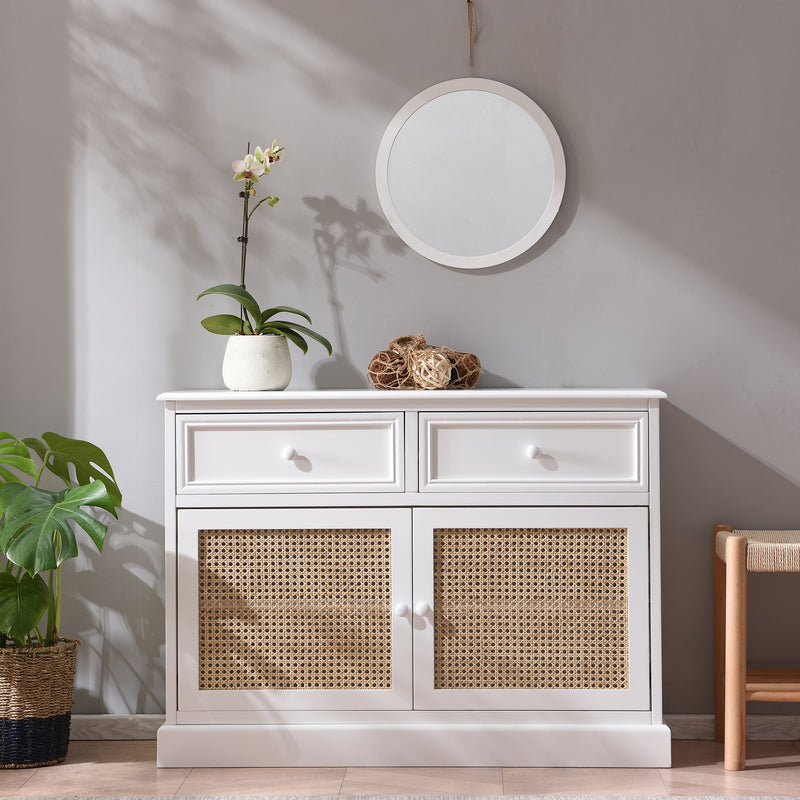 Homerton Solid Wood and Rattan 2 Door 2 Drawer Sideboard 1