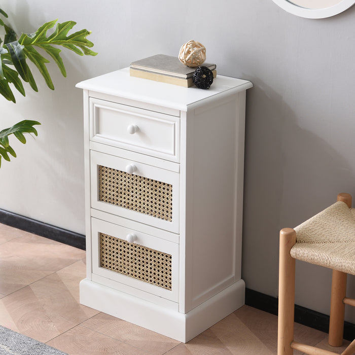 Homerton Rattan and Solid Wood 3 Drawer Bedside Table 2