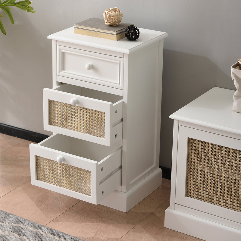 Homerton Rattan and Solid Wood 3 Drawer Bedside Table 3