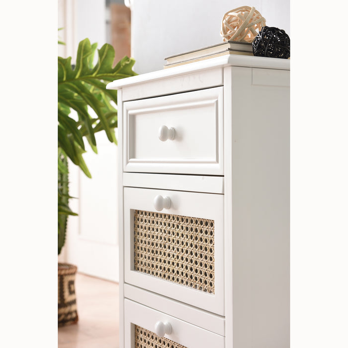 Homerton Rattan and Solid Wood 3 Drawer Bedside Table 4