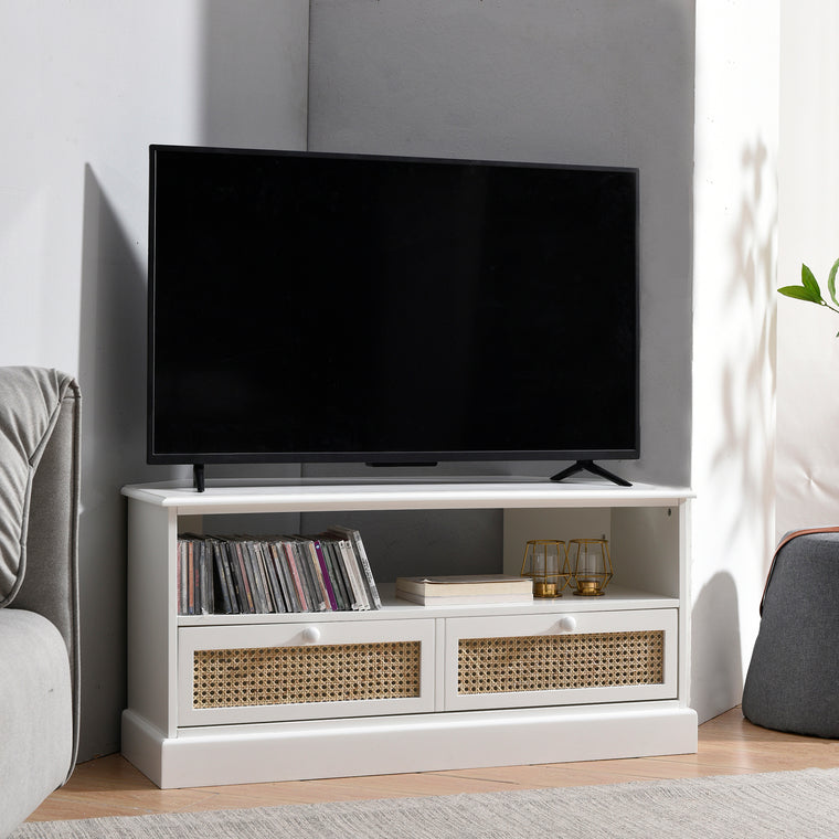 Homerton Rattan and Solid Wood Corner TV Stand