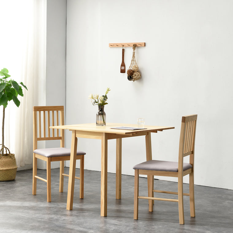 Malden Solid Wood Extending Dining Table set with 2 Chairs