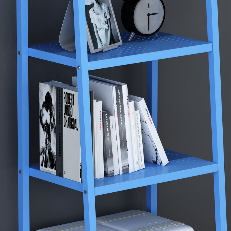 huba 4 tier shelving unit display stand blue
