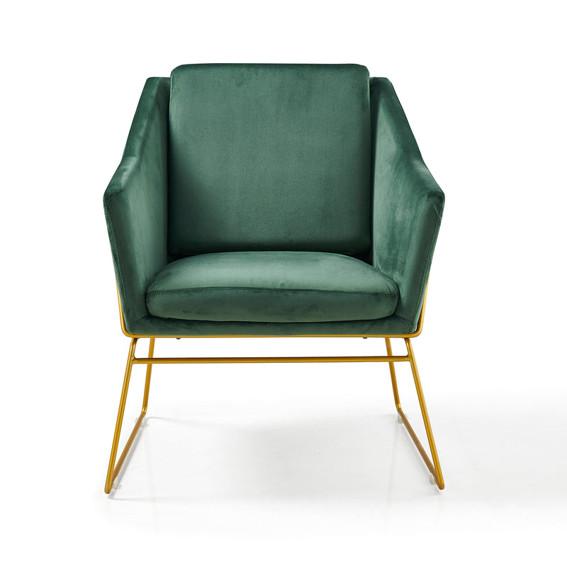 HEDY Velvet Accent Chair Armchair with Sculptural Metal Frame in Green Velvet 3