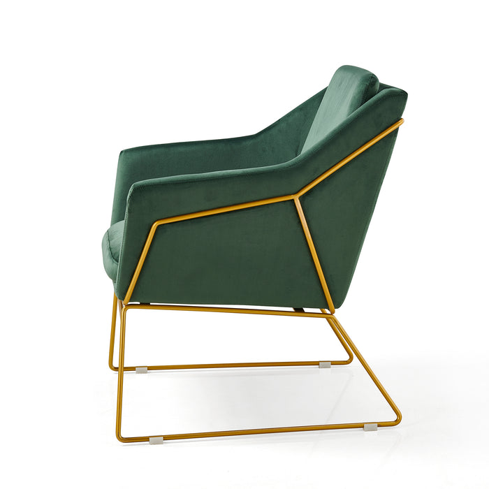 HEDY Velvet Accent Chair Armchair with Sculptural Metal Frame in Green Velvet 4
