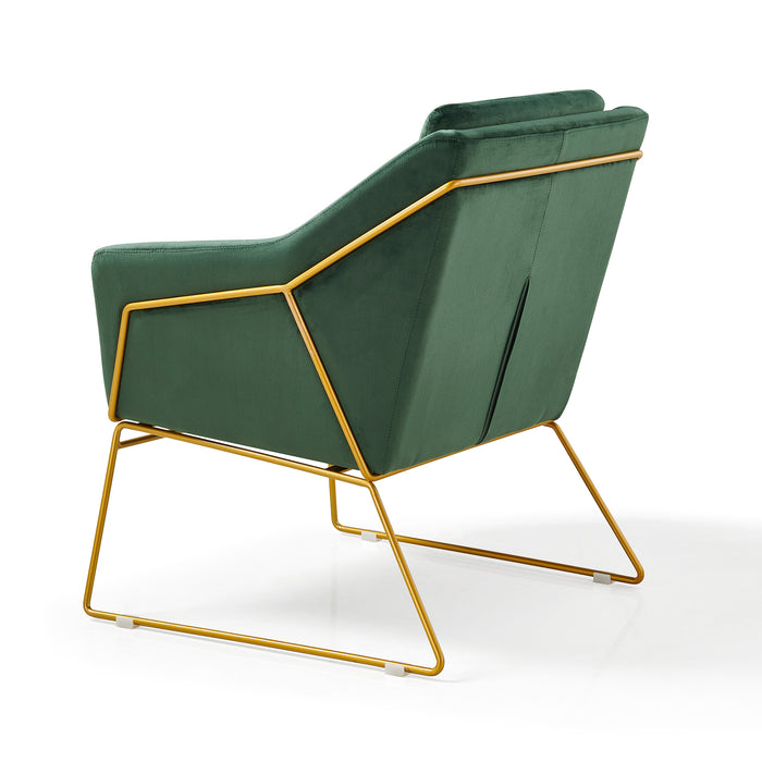 HEDY Velvet Accent Chair Armchair with Sculptural Metal Frame in Green Velvet 5