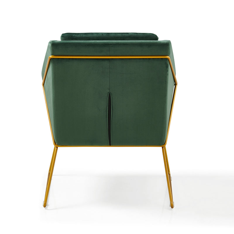 HEDY Velvet Accent Chair Armchair with Sculptural Metal Frame in Green Velvet 6
