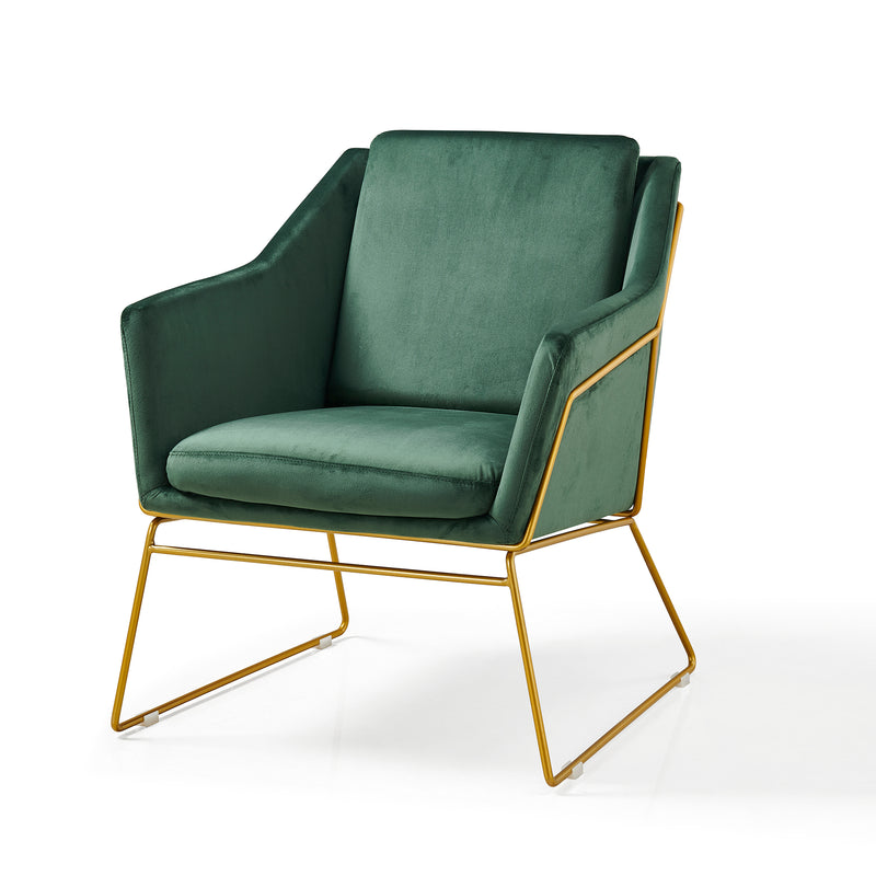 HEDY Velvet Accent Chair Armchair with Sculptural Metal Frame in Green Velvet 2