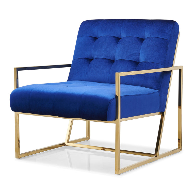 Astaire Contemporary Armchair Accent Chair with Golden Frame Blue