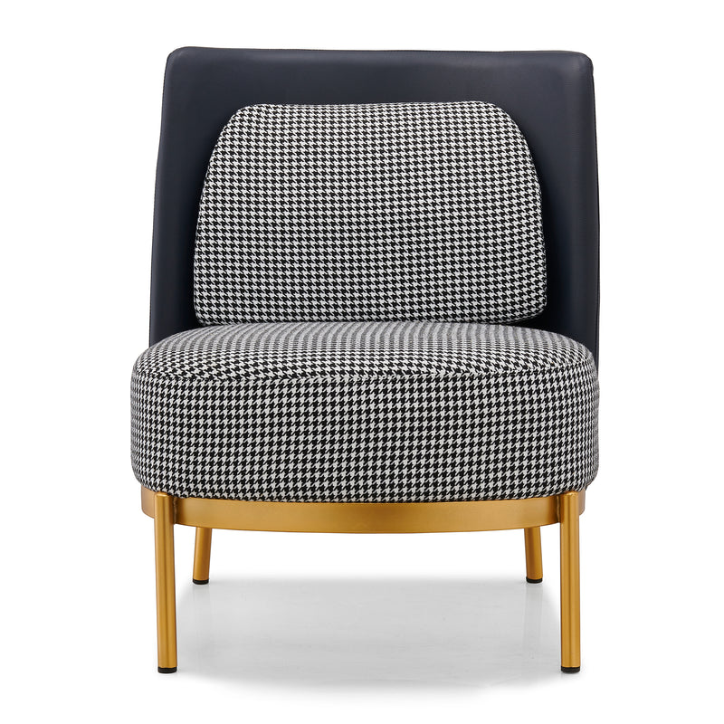 Cooper Houndstooth Armchair Accent Chair with Golden Metal Base