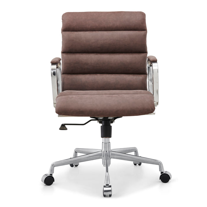 Kingston Vintage Effect Faux Leather Office Chair with Chrome Frame and Aluminium Base Brown 2