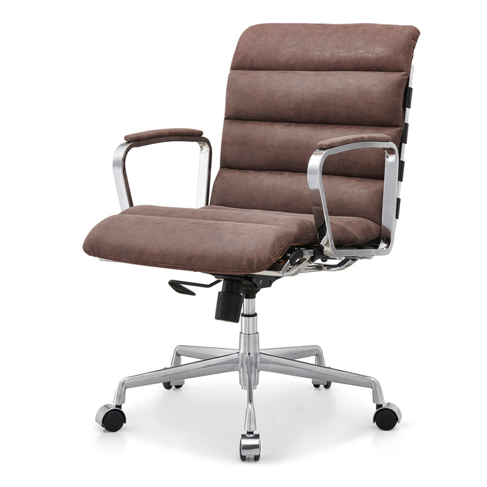 Kingston Vintage Effect Faux Leather Office Chair with Chrome Frame and Aluminium Base Brown 1
