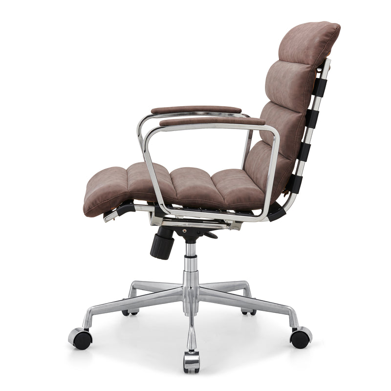 Kingston Vintage Effect Faux Leather Office Chair with Chrome Frame and Aluminium Base Brown 3