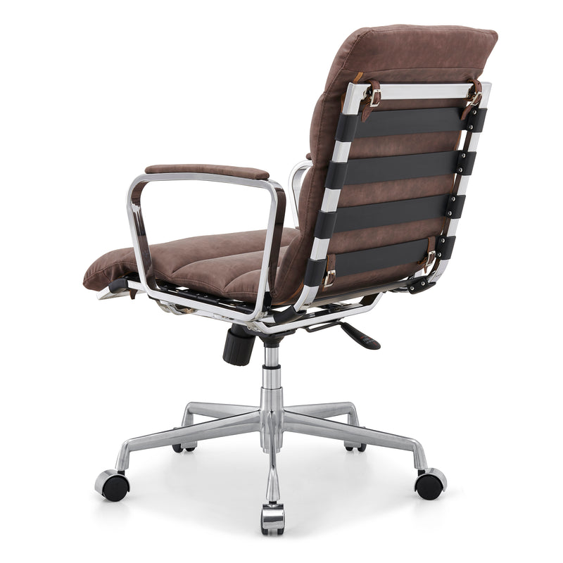 Kingston Vintage Effect Faux Leather Office Chair with Chrome Frame and Aluminium Base Brown 4