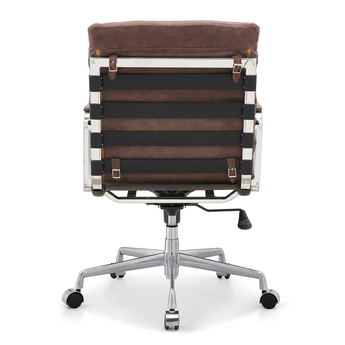 Kingston Vintage Effect Faux Leather Office Chair with Chrome Frame and Aluminium Base Brown 5