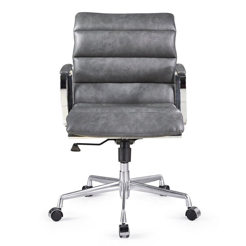 Kingston Vintage Effect Faux Leather Office Chair with Chrome Frame and Aluminium Base Grey 2