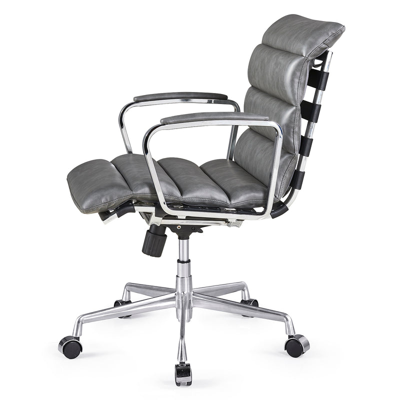 Kingston Vintage Effect Faux Leather Office Chair with Chrome Frame and Aluminium Base Grey 3