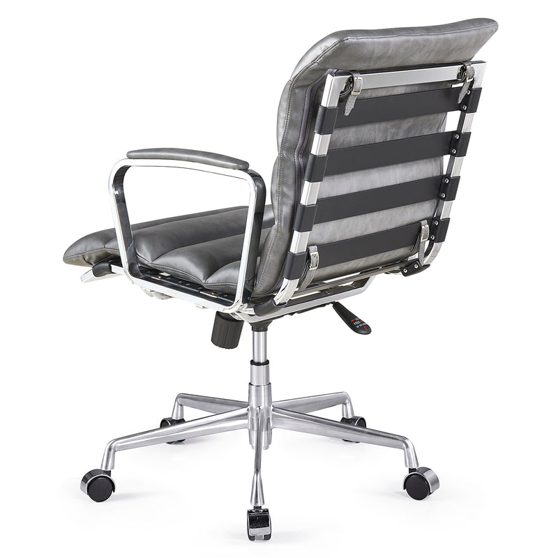 Kingston Vintage Effect Faux Leather Office Chair with Chrome Frame and Aluminium Base Grey 4
