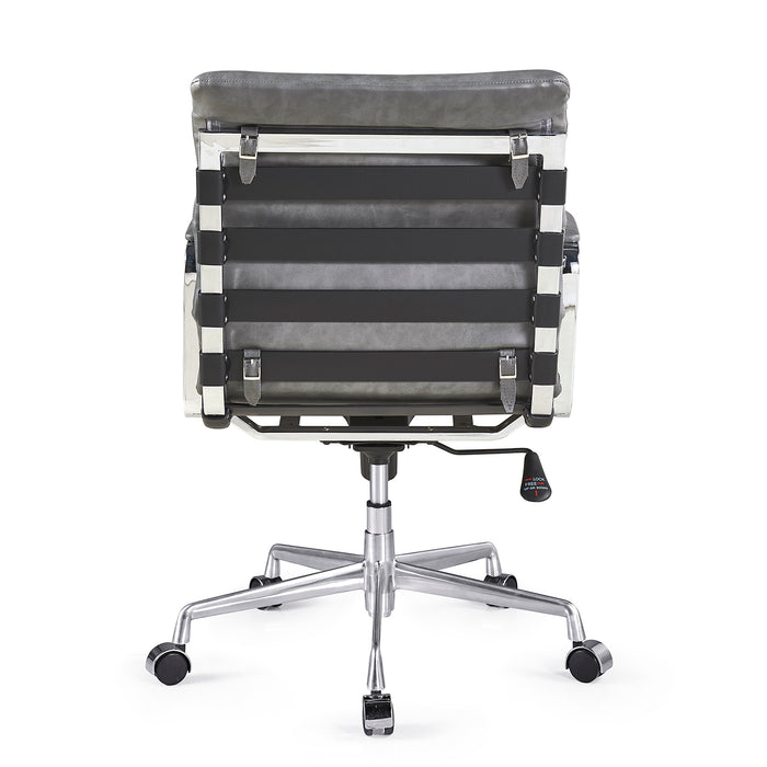 Kingston Vintage Effect Faux Leather Office Chair with Chrome Frame and Aluminium Base Grey 5