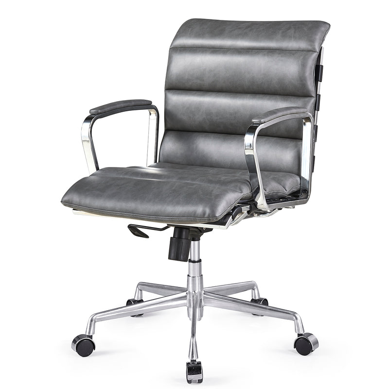 Kingston Vintage Effect Faux Leather Office Chair with Chrome Frame and Aluminium Base Grey 1