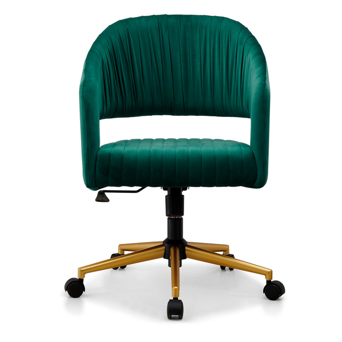 Perce Velvet Swivel Desk Chair Green 2
