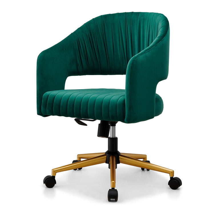 Perce Velvet Swivel Desk Chair Green