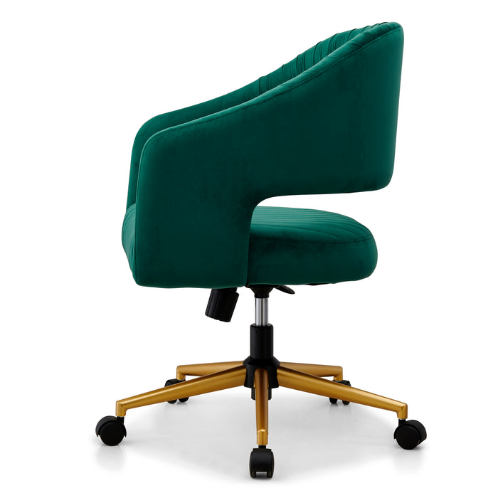 Perce Velvet Swivel Desk Chair Green 3