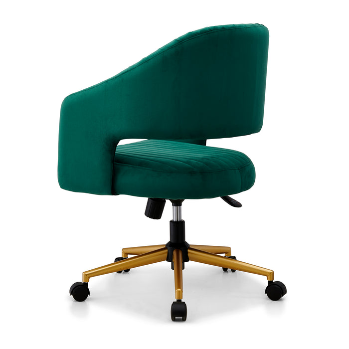 Perce Velvet Swivel Desk Chair Green 4