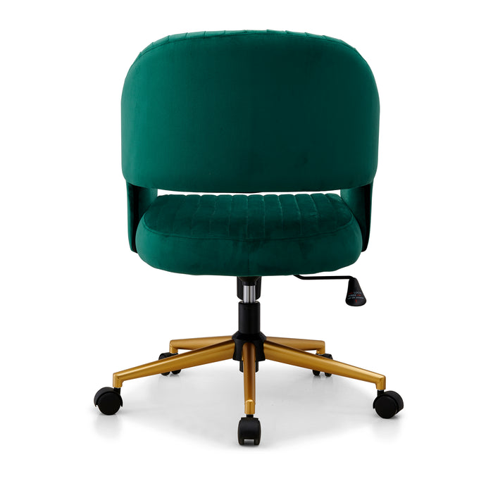 Perce Velvet Swivel Desk Chair Green 6