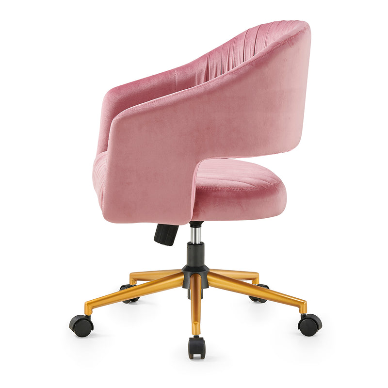 Perce Velvet Swivel Desk Chair Pink 3
