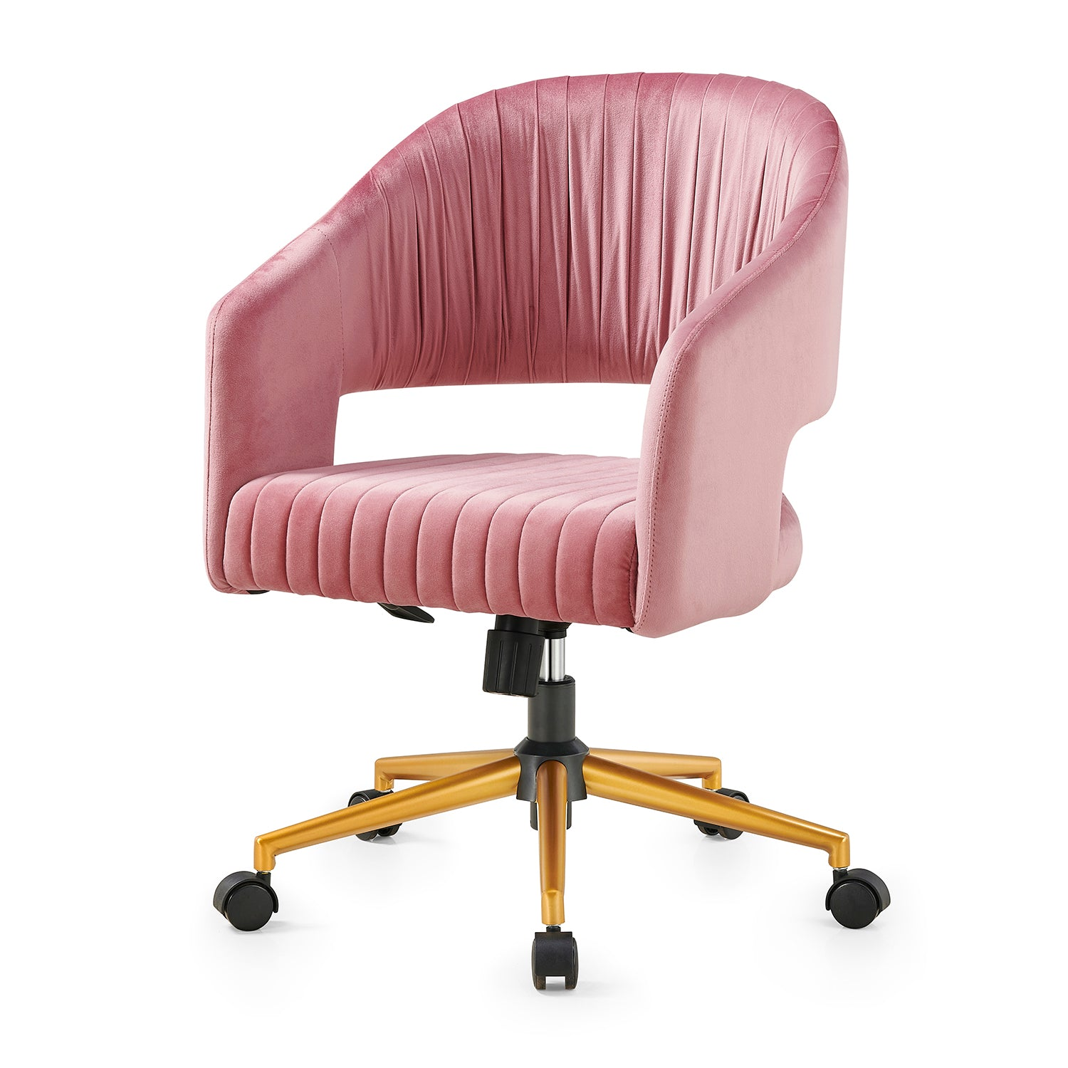 Perce Velvet Swivel Desk Chair Pink 1