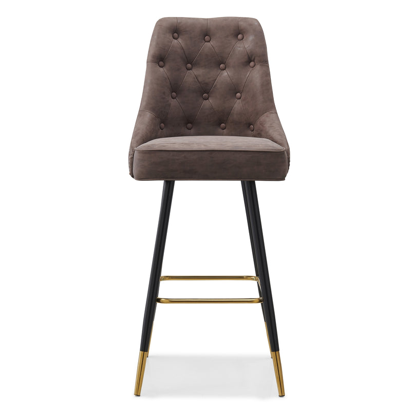 Bloomsbury Barstool Bar Chair with Buttoned Back and Studs Brown PU Leather - DaAl's