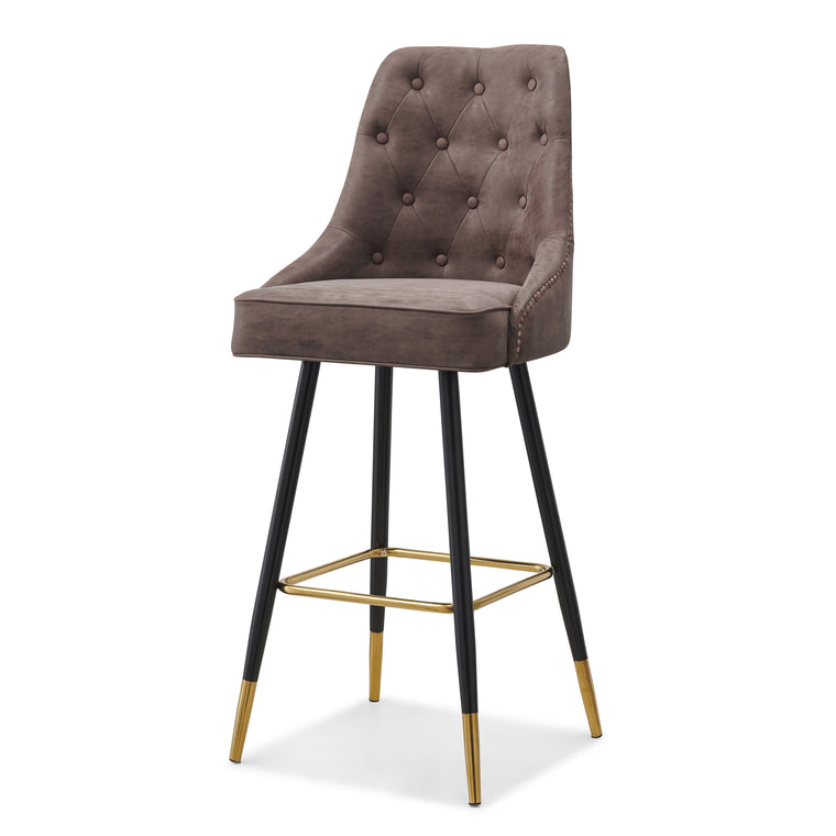 Bloomsbury Barstool Bar Chair with Buttoned Back and Studs Brown PU Leather