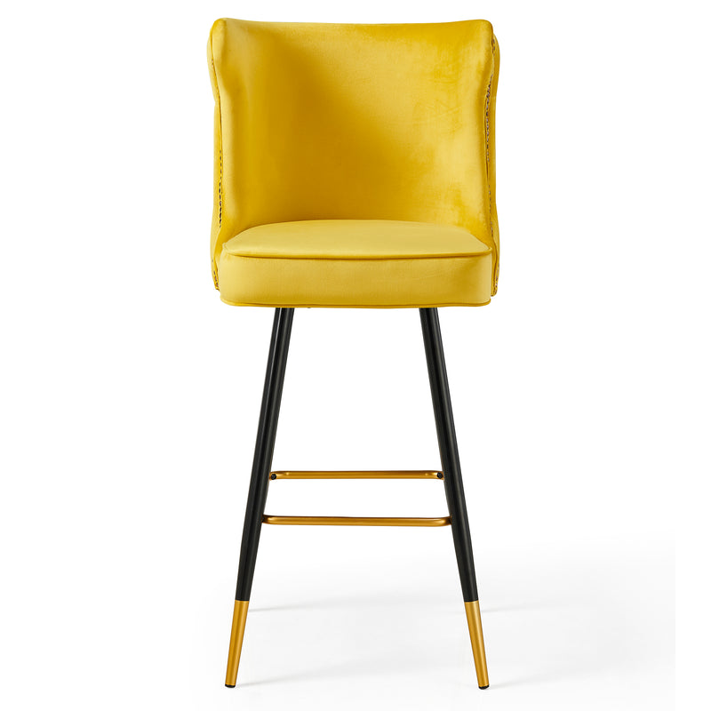 Emory Studded Velvet Bar Stools in Yellow  2