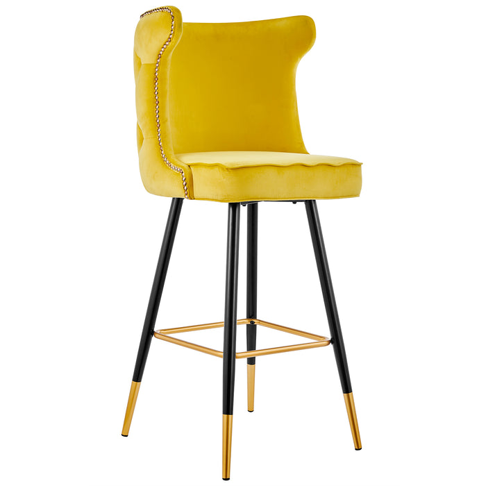 Emory Studded Velvet Bar Stools in Yellow  3