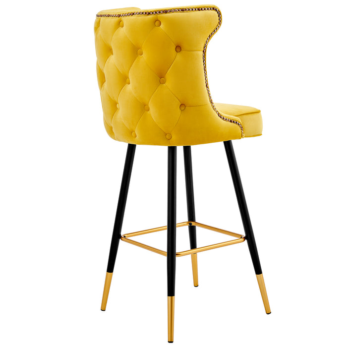Emory Studded Velvet Bar Stools in Yellow  4