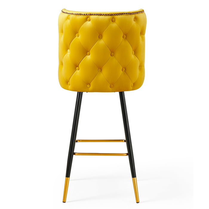 Emory Studded Velvet Bar Stools in Yellow  6