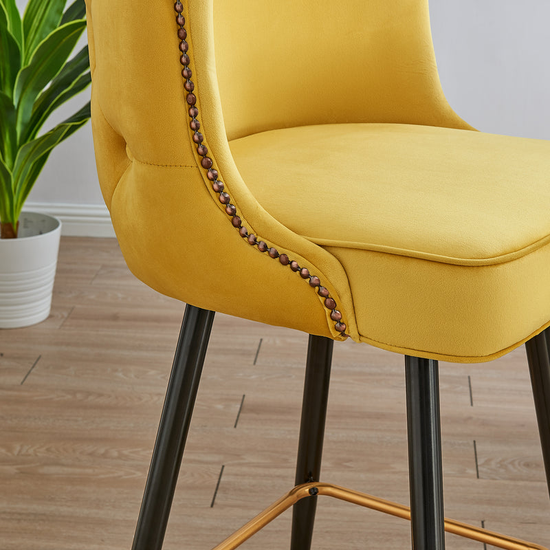 Emory Studded Velvet Bar Stools in Yellow  7
