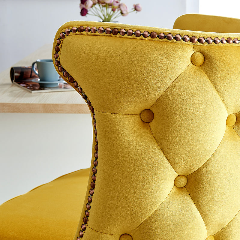 Emory Studded Velvet Bar Stools in Yellow  8