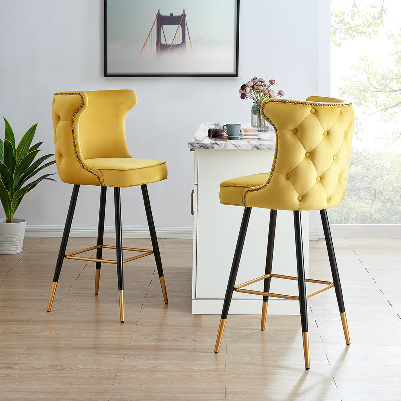 Emory Studded Velvet Bar Stools in Yellow  1