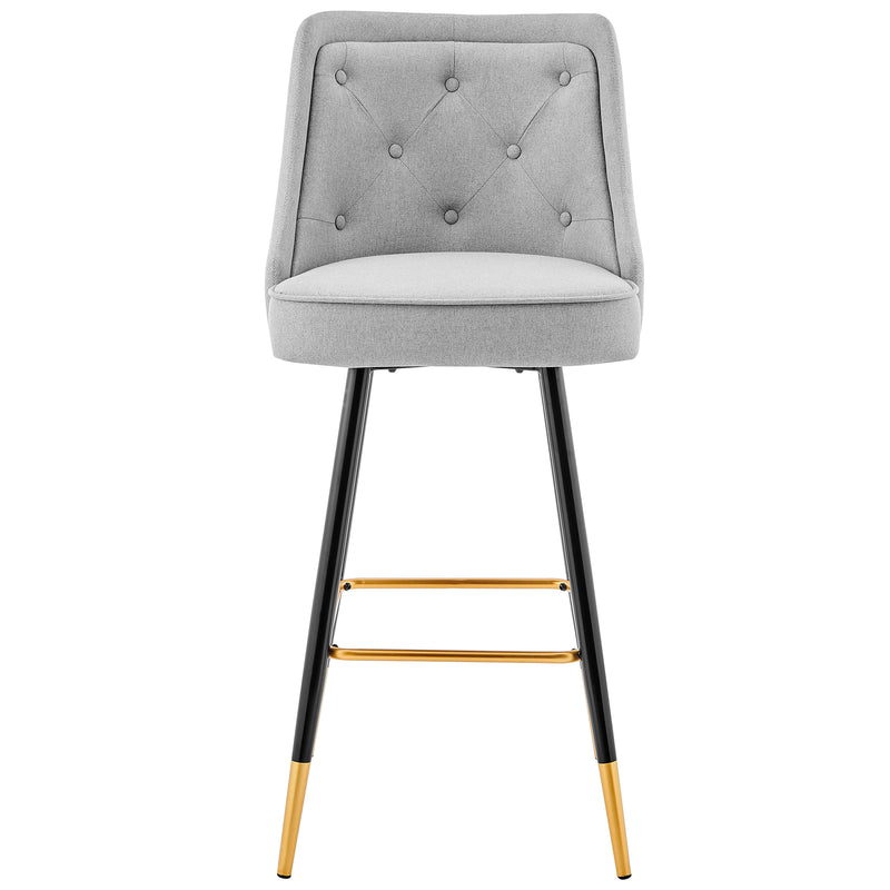 Kempton Pair of Bar Stools in Grey Fabric 2