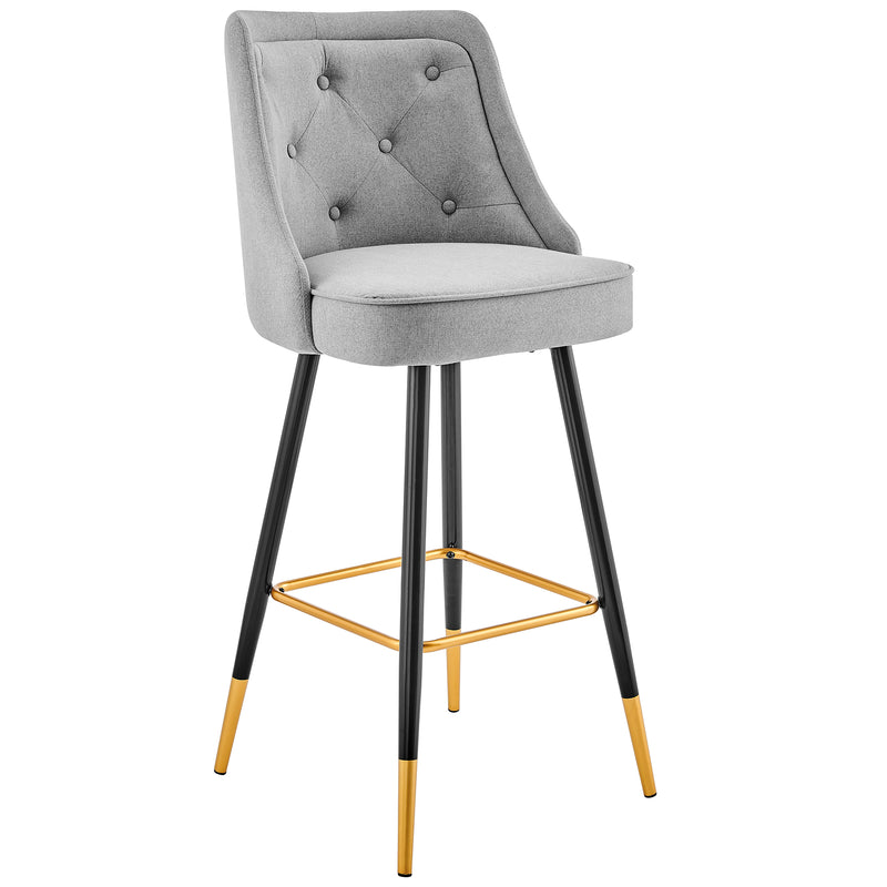 Kempton Pair of Bar Stools in Grey Fabric 3