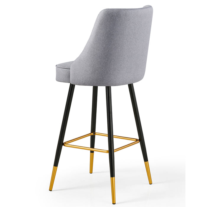 Kempton Pair of Bar Stools in Grey Fabric 6