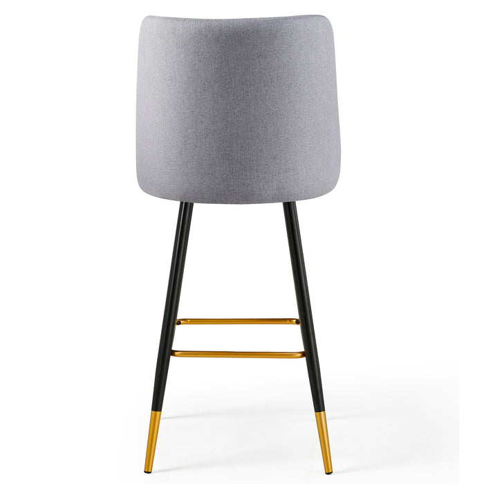 Kempton Pair of Bar Stools in Grey Fabric 7