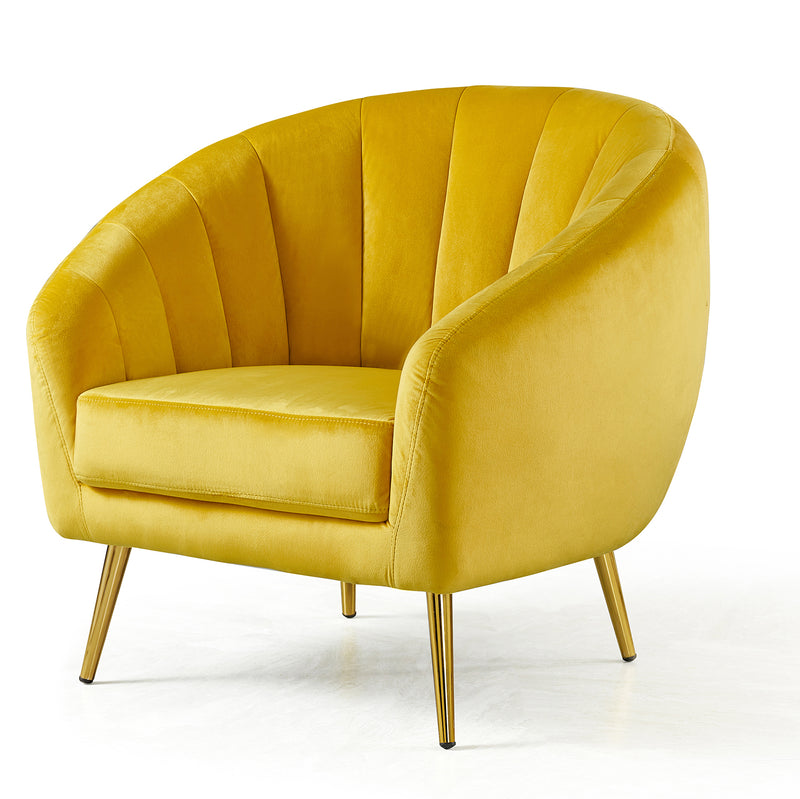 Cherry Tree Furniture Mahleen Fluted Velvet Armchair with Gold Tapered Legs Mustard 2