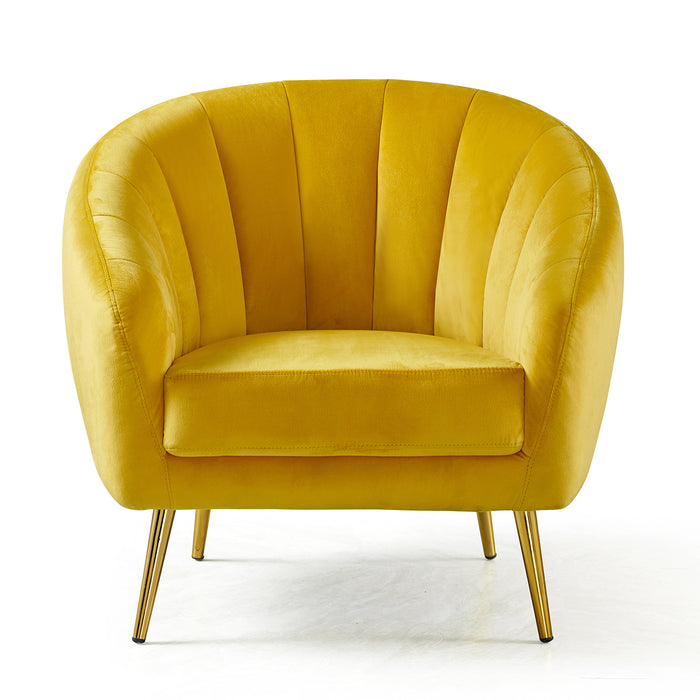 Cherry Tree Furniture Mahleen Fluted Velvet Armchair with Gold Tapered Legs Mustard 3