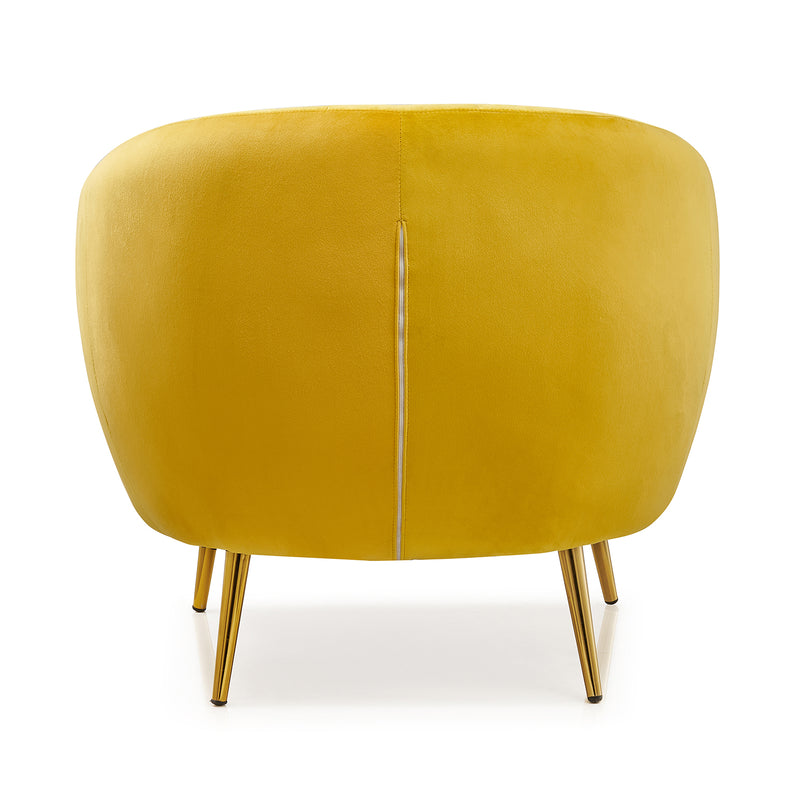 Cherry Tree Furniture Mahleen Fluted Velvet Armchair with Gold Tapered Legs Mustard 5