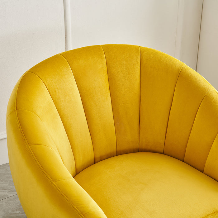 Cherry Tree Furniture Mahleen Fluted Velvet Armchair with Gold Tapered Legs Mustard 6